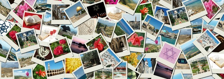 Background colage made of Israel travel photos with famous landm